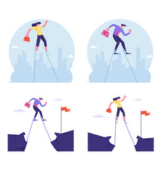 Set businesspeople overcoming obstacles vector