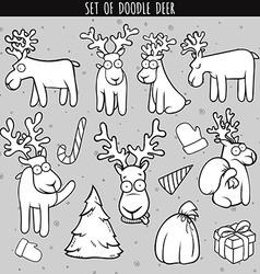 Set deer doodle different poses for design Deer vector image