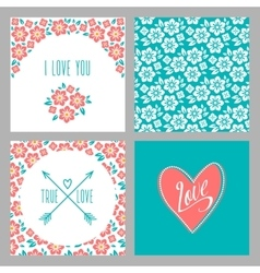 Set of Flower wedding invitation cards and 4 vector