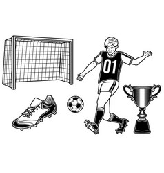 set of football player with a ball cup goal vector image