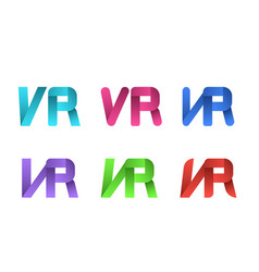 set of vr logo in ribbon style on white vector image