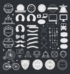 Set vintage styled design hipster icons vector