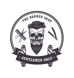 Skull barber shop logo retro vintage template vector