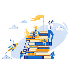 Small people on stack of books teamwork education vector