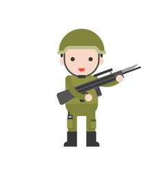 soldier cute character professional set flat vector image