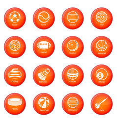 Sport balls equipment icons set red vector