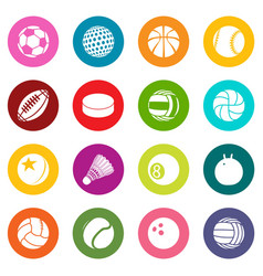 sport balls icons set colorful circles vector image