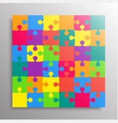 Square puzzle 36 colored pieces details or parts vector