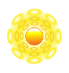 sun icon with rays out of roundels sign or logo vector image