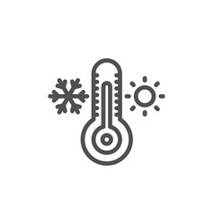 Thermometer line icon cold and warm thermostat vector