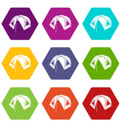 tourist tent icons set 9 vector image