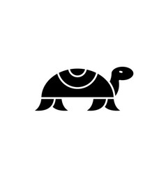 Turtle in motion black icon sign on vector