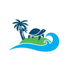 turtle island archipelago concept logo icon vector image