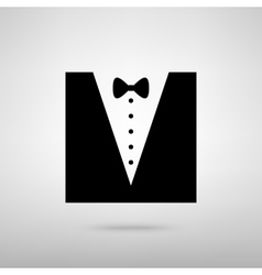 Tuxedo with bow silhouette vector