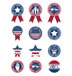 Usa buttons and seal stamps of vote concept vector