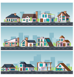 villa landscape residential townhouse living vector image