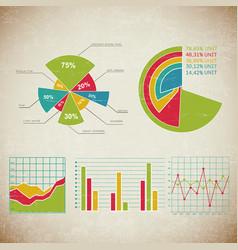vintage chart set infographic vector image