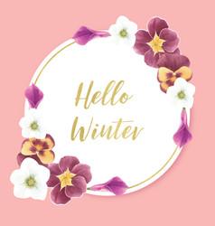 Winter bloom wreath design with orchid calla vector