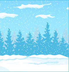 winter landscape with white pine trees on snow vector image