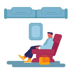 young business man sitting in comfortable airplane vector image