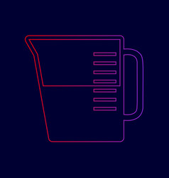 beaker sign line icon with gradient from vector image