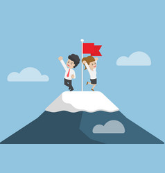 businessman climbed to the top of mountain vector image vector image