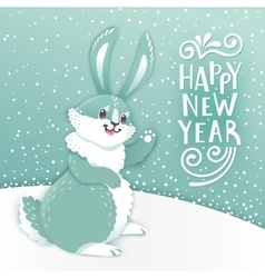 Card Happy New Year with cartoon rabbit Funny vector image vector image