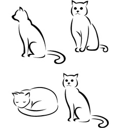 Cat tattoo collection vector
