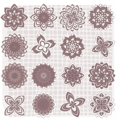 collection of 16 flower sketches vector image