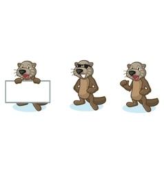 Dark Brown Sea Otter Mascot happy vector image vector image