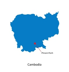Detailed map of Cambodia and capital city Phnom vector image