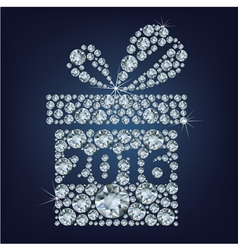 Gift present with 2016 made up a lot of diamonds vector image vector image