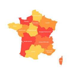 map of france divided into 13 administrative vector image