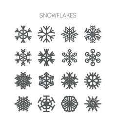 Set of simple monochromatic snowflake icons vector image