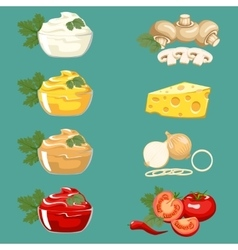 Set sauces for meat dishes and fast food vector image