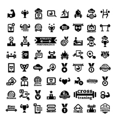 big fitness icons set vector image vector image