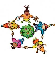 happy dancing kids around tree vector image