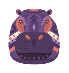 hippopotamus head logo decorative emblem vector image vector image