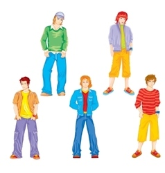 set of teenagers vector image