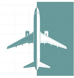 silhouette of airplane top view vector image vector image