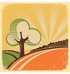 Vintage Nature landscape with tree and sun vector image vector image