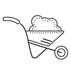 wheelbarrow garden line icon sign vector image