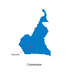 Detailed map of Cameroon and capital city Yaounde vector image