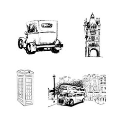 hand drawn london set vector image