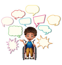 little boy on wheelchair with blank speech bubbles vector image vector image