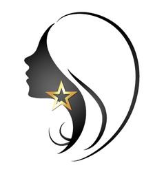 Profile silhouette of girl vector