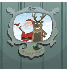 santa and rudolph vector image