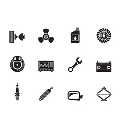 Silhouette Car Parts and Services icons vector image vector image