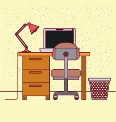 color background with sparkles and work place home vector image