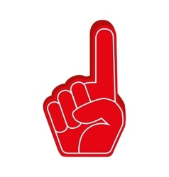 hand foam finger red isolated vector image